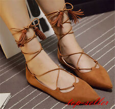 Womens Girls Party Court Shoes Lace Up Pointy Toe Ballet Flats Gladiator Sandals