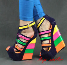 New Sexy Womens Peeptoe Heels ankle boots Gladiator Mulity color wedge Platform