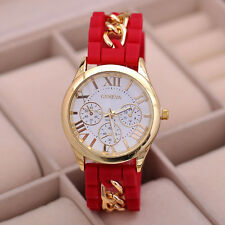 Geneva Women's Girl Chain Silicone Roman Numerals Analog Quartz Wrist Watches