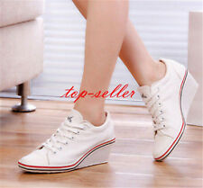 Size womens mixed lace up round toe sneakers wedge heel shoes Canvas Pumps Chic