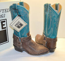 New $348 Frye Billy Harness Turquoise/Brown Leather Cowboy Boots Distressed rare