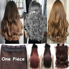 US Real Thick 3/4 Full Head Brown/Black/Blonde Clip In Hair Extensions 5clip T5A