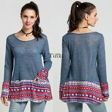 Women Long Sleeve Knitting Print Patchwork Sweaters Loose Casual Basic Tops TXCL