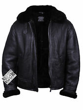 Brandslock Mens Aviator 100% Genuine Sheepskin Leather Bomber Flying Jacket BNWT