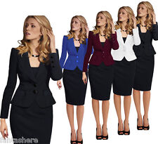 Elegant Womens Lapel Wear to Work Office Lady Career Business Suits Blazer Coat