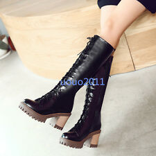 Punk Womens Lace Up High Block Chunky Heel Knee High Boots Ladies Knight Boots