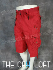 NEW Mens BLACK LABEL CARGO SHORTS in RED Snap Pockets & Free Belt