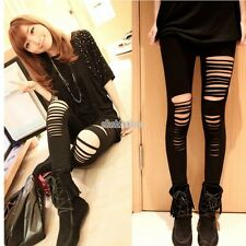 Women Distressed Cut Out Ripped Sexy Stretch Cotton Leggings Slim Pants Clothes