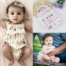 Newborn Infant Baby Girl Bodysuit Ruffled Romper Jumpsuit Outfit Sunsuit Clothes