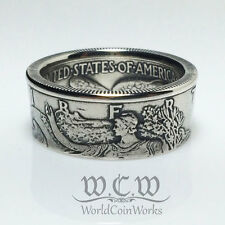 AU-UNC Walking Liberty Silver Half Dollar Coin Ring sizes 7 - 12 (Hand made)