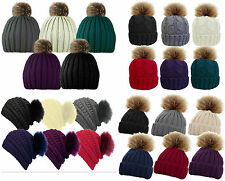 Ladies / Womens Faux Fur Bobble Beanie Hat Fixed or Detachable Pom Pom Winter