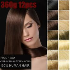 360g 12pcs Deluxe Thick Virgin 100%Real Human Hair Remy Clip In Hair Extensions