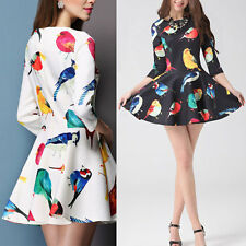 New Hot Women Bird Floral Print 3/4 Sleeve Crewneck Slim Mini Dress Elegant