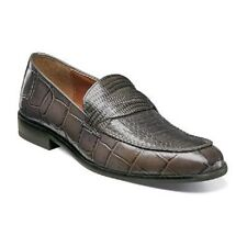 Stacy Adams Corsica Mens shoes Gray crocodile Print Leather Loafer 25027-020