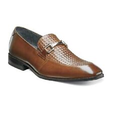 Stacy Adams Mens shoe Forsythe Cognac Leather Moc toe loafer cushioned 25080-221