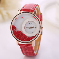 Woman Luxury Pu Leather Business Watch Quicksand Diamond Bracelet Wrist Watches