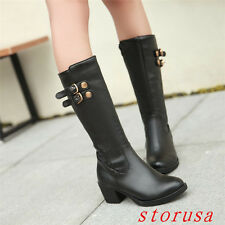 Chunky Heel Women Lady Knee High Boots Shoes Knight Buckle Rivet Size 43 Fashion