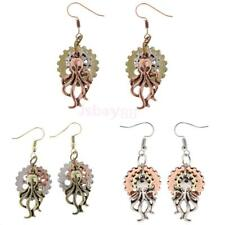 Vintage Octopus Gear Wheel Hook Women Long Earrings Drop Steampunk Jewelry Gift