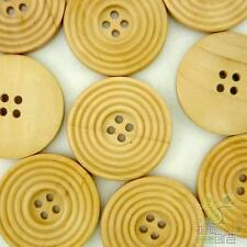 20/100pcs Brown Wood Circle Pattern Round Buttons 30MM 4 Holes Sewing Coat