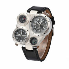 OULM  Mens Quartz Sport Military Stainless Steel Dial Leather Band Wrist Watch