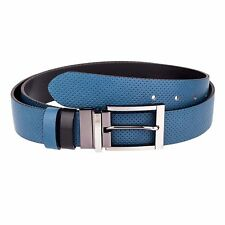Capo Pelle Reversible golf Belts for Men Blue leather Perforated LIMITED EDITION