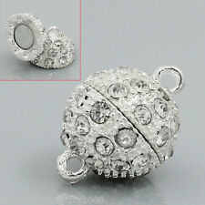 """Wholesale HOT Silver Plated Clear Rhinestone Magnetic Clasps 20x14mm(6/8""""x4/8"""")"""
