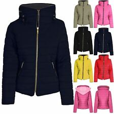 Ladies Padded Puffer Bubble Thick Women Quilted Warm Zip Collar Hood Coat Jacket