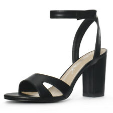 Women Open Toe Block High Heels Ankle Strap Sandals