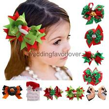 Big Hair Bow Aligator Clips Xmas Halloween Ribbon Bow Baby Girl Hair Accessories