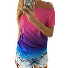 Women Boat Neck Batwing Sleeves Dip-dyeTunic T-shirt