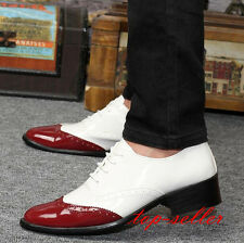 Mens Wing Tip Brogue Pieced Lace Up Patent Leather Oxfords Dress Formal Shoes Sz