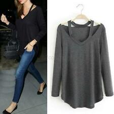 Women Cotton Long Sleeve T-shirt V Neck Loose Casual Tee Shirts Tops Blouse S-XL