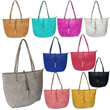 Ladies Women New Fashion Medium Faux Leather Shopper Tote Shoulder Bag