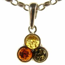 BALTIC AMBER STERLING SILVER 925 ROUND CIRCLE PENDANT NECKLACE CHAIN JEWELLERY