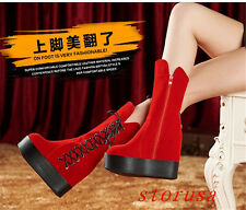 Women Lady Hidden Wedge High Heel Platform Mid Calf Boots Shoes Faux Suede Size