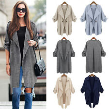 Fashion Womens Waterfall Long Sleeve Cardigan Long Top Trench Duster Coat Jacket