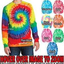 Mens LONG SLEEVE Cotton Tie Dye T-Shirt Tye Died Tee S-XL 2XL, 3XL, 4XL NEW!