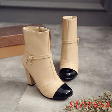 Sexy Women Lady High Block Heel Ankle Boots Shoes Side Zipper Buckle Size Hot