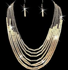 GOLD SILVER Diamond Cut Multi Tube Chain Statement Long Dangle Necklace Earrings