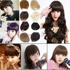 UK Ship Women Clip In On Front Hair Bangs Fringe Hair Extensions Brown Black ltd
