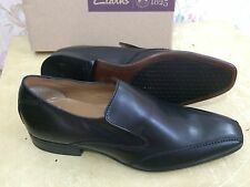 CLARKS MENS BLACK LEATHER slip on SHOES UK size 6