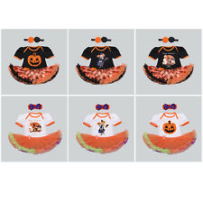 Fashion Halloween Holiday Baby Girls Romper Short Sleeve Tulle Dress Party Set