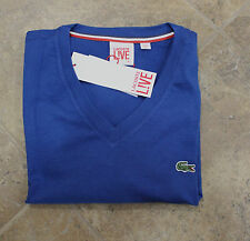 Lacoste Men Night blue L!ve ultra slim v-neck short Sleeve T-shirt size L