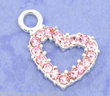 Wholesale Lots SP Pink Rhinestone Heart Charm Pendants19x13mm