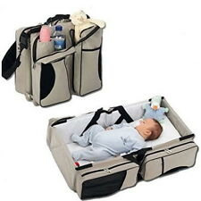 Baby Diaper Travel Bag Portable Infant Nursery Crib Folding Bed Convertible Bag