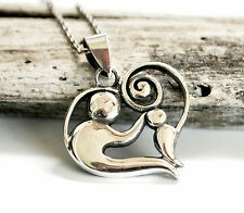 Sterling Silver Mother and Child Heart Pendant and Chain - Mother's Day Gift