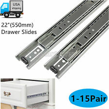 "22"" Kitchen Cabinet Full Extension Drawer Slides Ball Bearing Glides 3 Section"