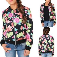 Stylish Women Stand Collar Long Sleeve Zipper Floral Bomber Printed Jacket Coat