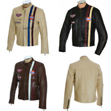 Retro Steve McQueen Le Mans Firestone GULF Genuine Cowhide Casual Leather Jacket