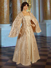 Medieval Renaissance Maiden Dress Gown with Hood, Handmade from Brocade